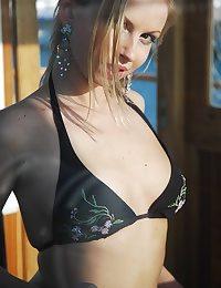 Mind-blowing ash-blonde Julia showcasing off on hit away boat