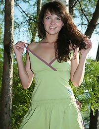 Birche's slim and slim body, uber-sexy perky nips and undeniably pretty face is a pleasuring look with the green round setting and noiseless lake on her background.